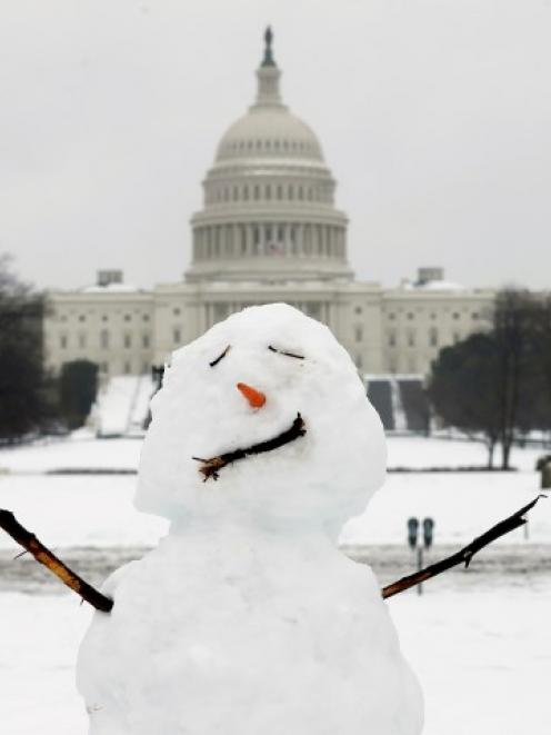 A snowman stands in front of the US Capitol in Washington. REUTERS/Kevin Lamarque