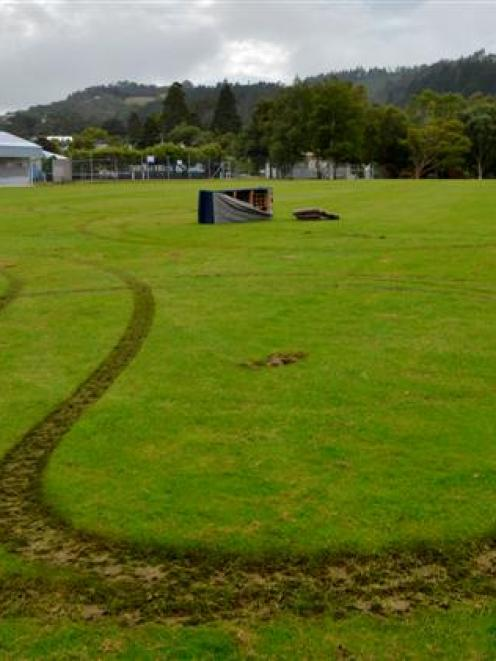 A vehicle caused this damage at Opoho Park, Dunedin, early  yesterday. Photo by Gerard O'Brien.