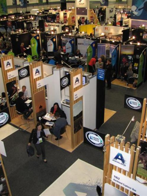 A view of mostly North Island tourism exhibition booths, where appointments with travel buyers...