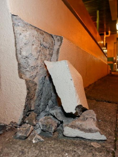 A wall on the Terrace shows signs of earthquake damage. (Photo by Hagen Hopkins/Getty Images)