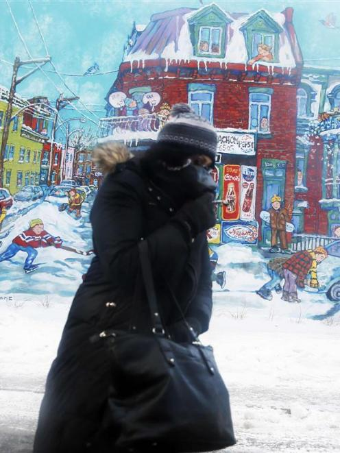 A woman braces against the wind and cold as she walks in Montreal. REUTERS/Christinne Muschi