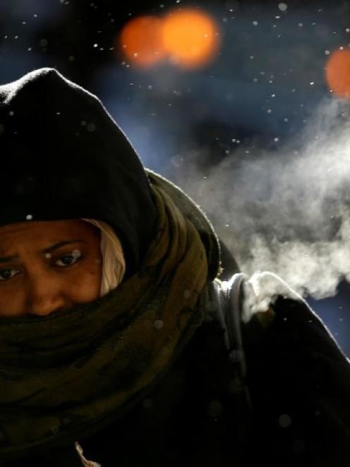 A woman braves the frigid temperatures in downtown Chicago. REUTERS/Jim Young