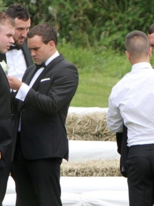 Aaron Cruden and his groomsmen get ready for the big occasion.