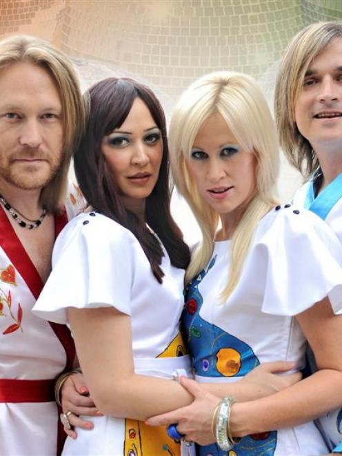 Abba parody group characters (from left) Benny Anderwear, Frida Longstokin, Agnetha Falstart and...