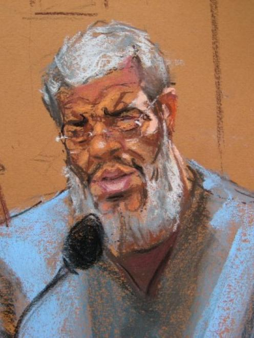Abu Hamza al-Masri replies to questions from his defence lawyer Joshua Dratel in Manhattan...