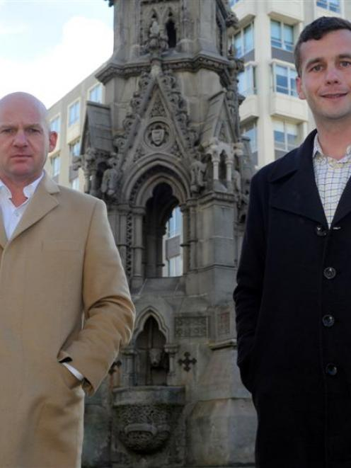 Act New Zealand leader Jamie Whyte (left) and Epsom candidate David Seymour in Dunedin yesterday....