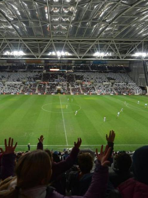 Action at Forsyth Barr Stadium during the Newcastle United against Sydney FC Football match  on...