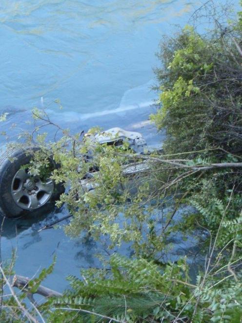 Adam Dear's vehicle submerged in the Kawarau River.