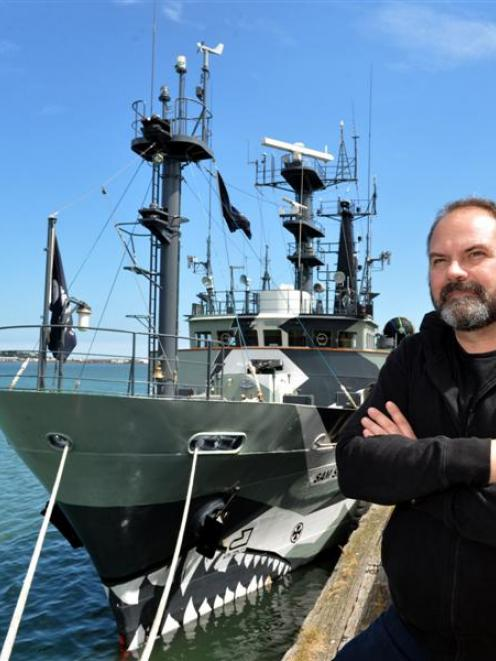Adam Meyerson, captain of the Sea Shepherd  anti-whaling vessel  Sam Simon, waits as it refuelled...