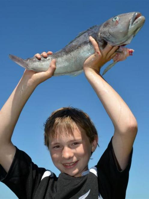 Adam Pullar (13) with a blue cod he caught despite ''getting seasick''. Photo by Stephen Jaquiery.