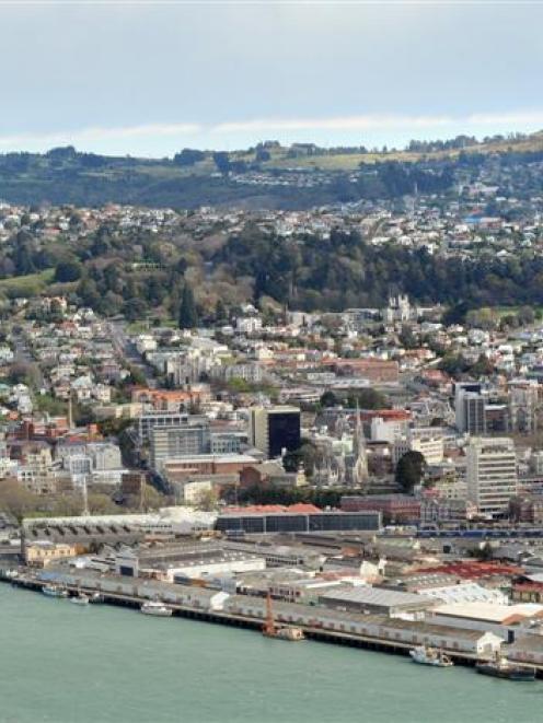 Aerial shot of Dunedin city. Photo by ODT.