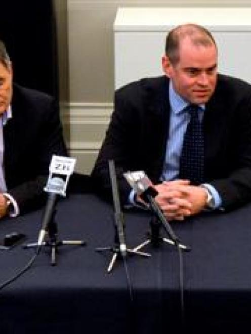 AgResearch acting chief executive Andrew McSweeney (right) and Dunedin Mayor Dave Cull respond to...