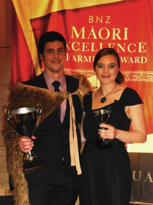 Ahuwhenua Young Maori Dairy Farmer of the Year winner Wiremu Reid with his partner Bettina Tolich...