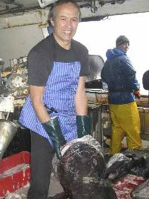 Alan Johnston during his time as cook on the vessel Janas while fishing for Patagonian toothfish...