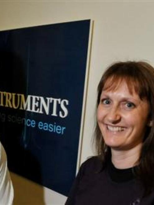 Albie Laurence and Kelly Macknight at ADInstruments in Dunedin. Photo by Gregor Richardson.