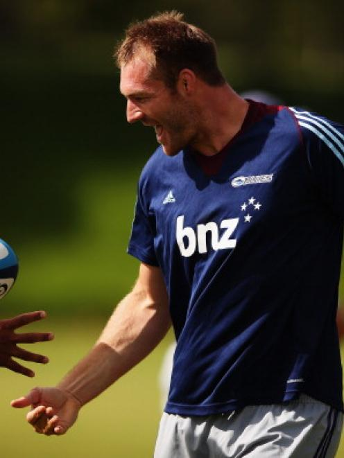 Ali Williams of the Blues runs through drills during a Auckland Blues Super Rugby training...