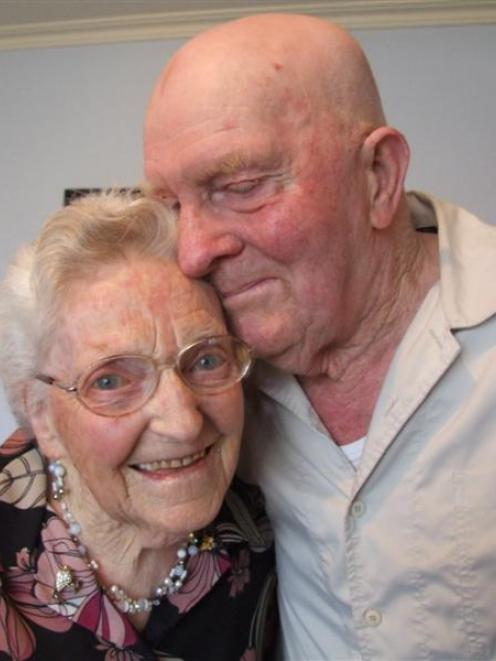 Alison and Jim Phillips celebrate their 65th wedding anniversary in Oamaru yesterday. Photo by...