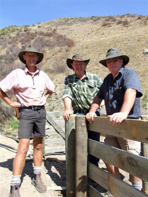 Alistair Campbell (left), Bill Hinchey and Barry Murphy on the zigzag hunt course at the Omakau...