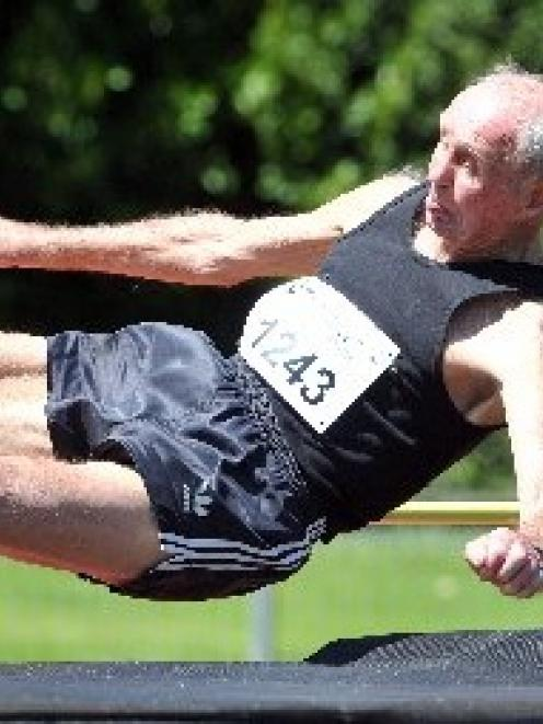 Alistair Mackay  sets a New Zealand  record in the high jump at the Masters Games yesterday....