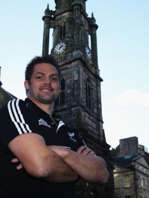 All Black captain Richie McCaw poses for a photo in Edinburgh after the team's arrival in...