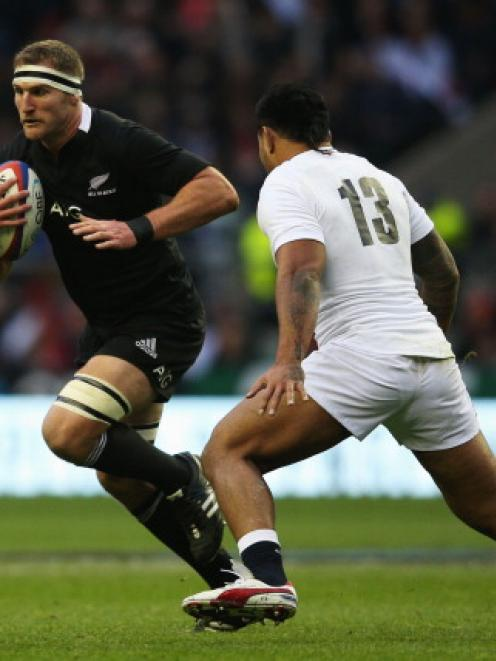 All Black loose forward Kieran Read on the charge against England during their test at Twickenham...