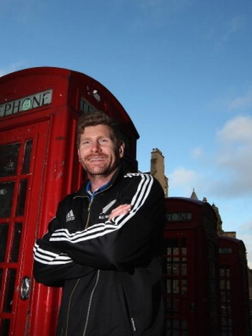 All Blacks flanker Adam Thomson soaks up the atmosphere of Scotland's capital yesterday. Photo by...