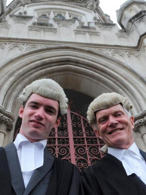 Allan Brent and his father, lawyer David, outside the High Court at Dunedin yesterday. Photos by...