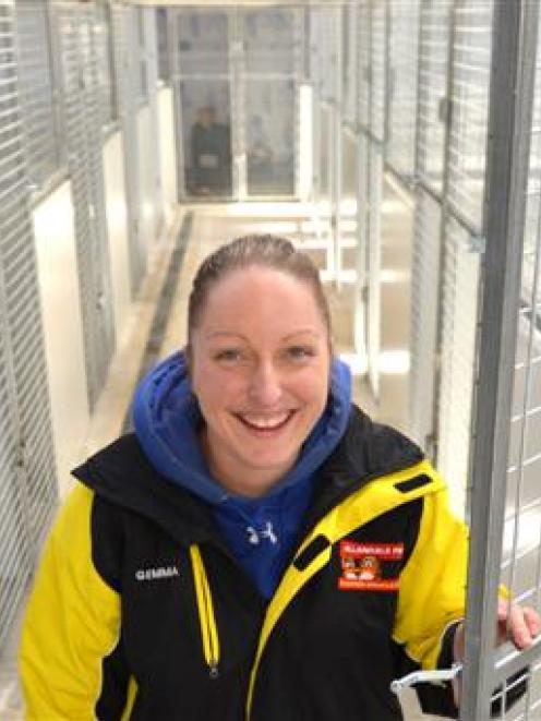 Allandale Park employee Gemma Clarkson inside the nearly complete Dunedin City Council dog pound,...