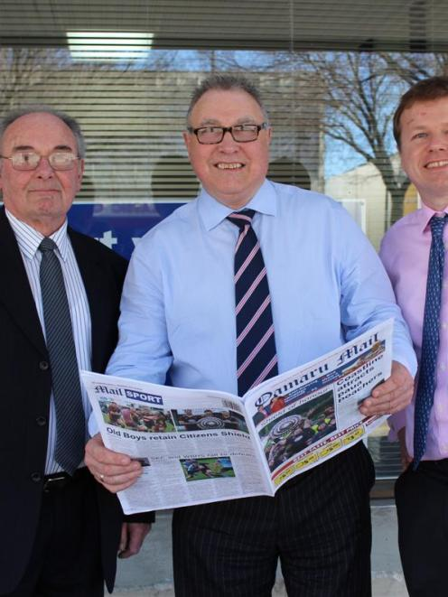 Allied Press operations director Ray Clarkson (left), Oamaru Mail general manager Tony Nielsen...