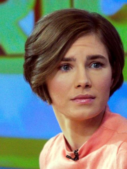 Amanda Knox is interviewed on the set of ABC's 'Good Morning America' in New York late last month...