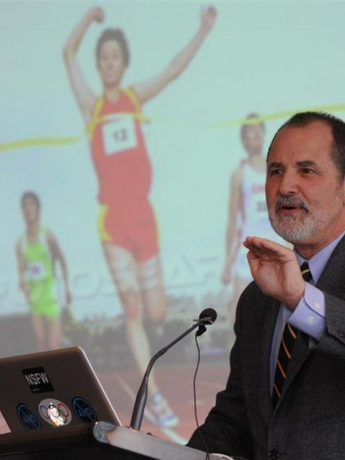 American ethicist Prof Ronald Green discusses gene-doping issues this week. Photo by Peter McIntosh.
