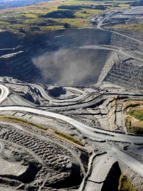 An aerial photo of Macraes mine.