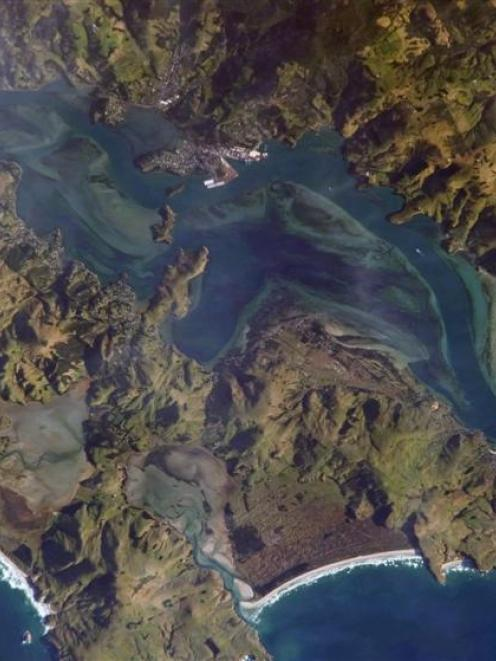 An aerial picture of the lower Otago harbour. Photo from NASA.