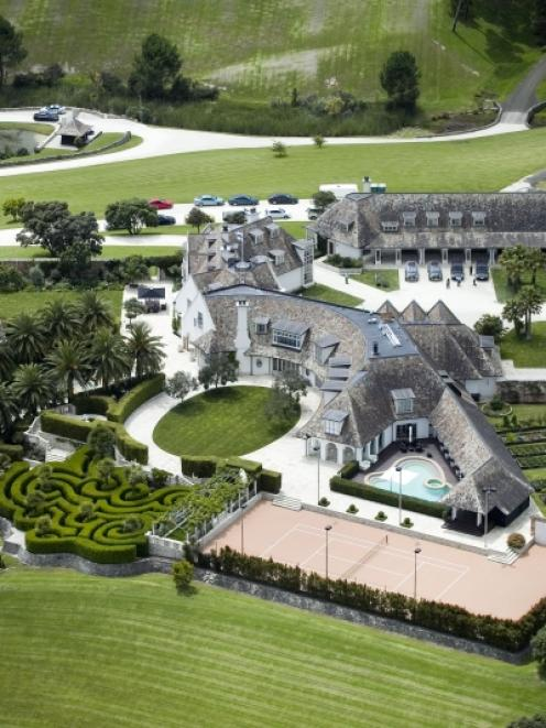 An aerial shot of Kim Dotcom's mansion in Coatesville. Photo from the New Zealand Herald