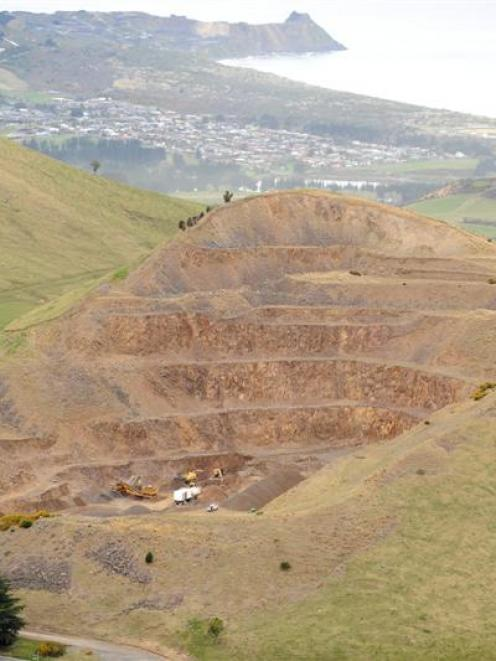 An aerial view of the quarry on Saddle Hill, near Dunedin, from two weeks ago. Photo by Stephen...