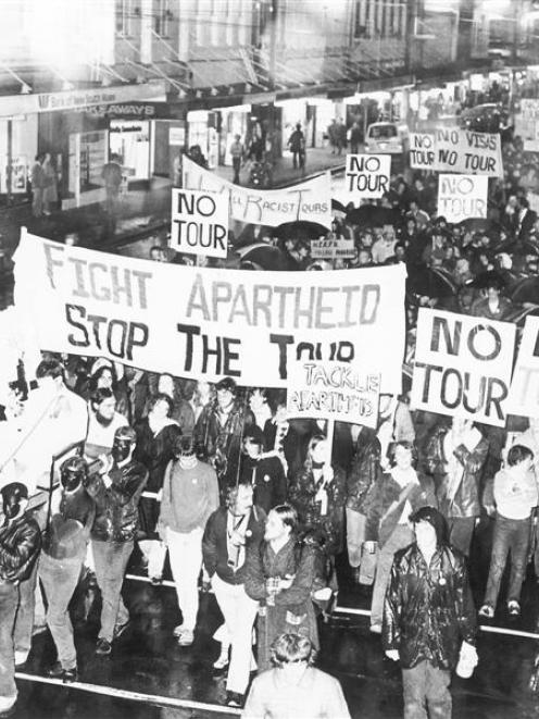 An anti-Springbok tour march in Dunedin in 1981.