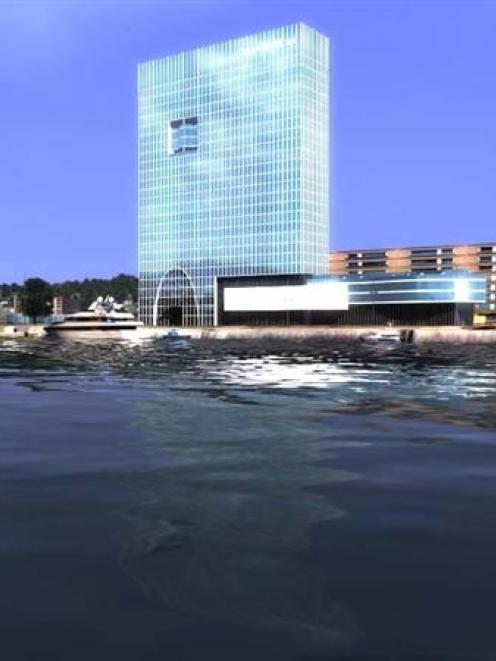 An artist's impression of a new hotel proposed to be built near Steamer basin, Dunedin. Image...