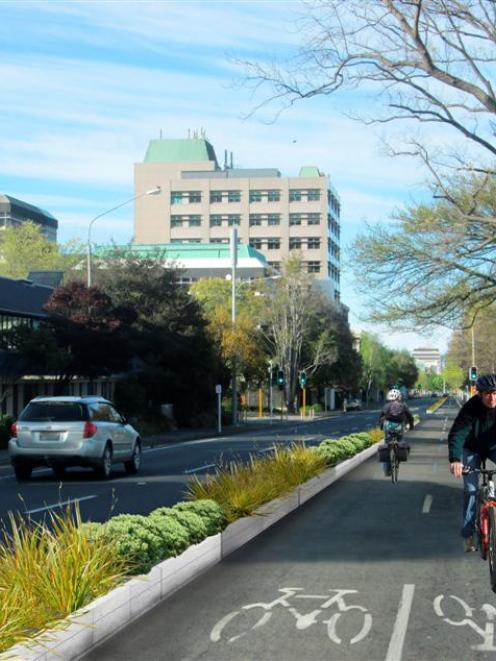An artist's impression of a possible two-way separated cycle lane in central Dunedin. Image by NZTA.