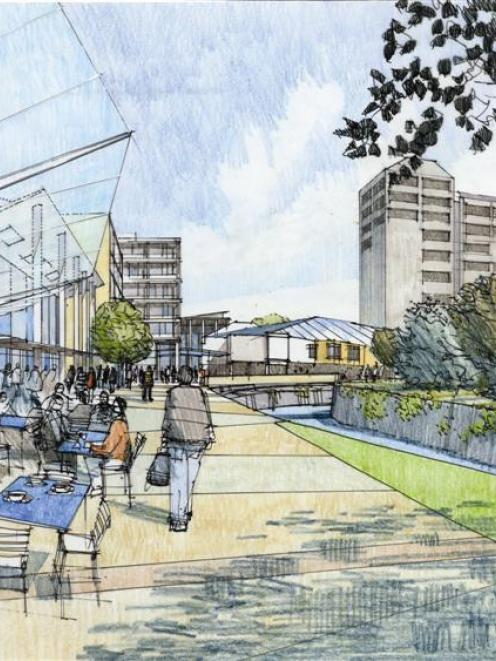 An artist's impression of parts of the Dunedin campus including a redeveloped Water of Leith....