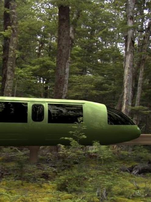 An artist's impression of the Fiordland monorail. Supplied image.