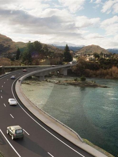 An artist's impression of the proposed two-lane bridge on State Highway 6 between Kelvin Heights...