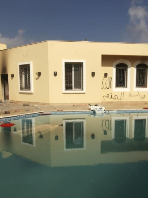 An exterior view of the U.S. consulate, which was attacked and set on fire by gunmen in Benghazi....