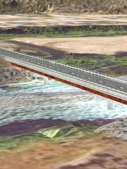 An impression of the new bridge over the southern stream of the Waitaki River, one of two  being...