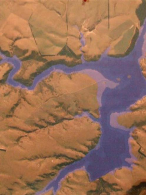 An impression of the proposed lake which would be created at Pineside. State Highway 85 crosses...