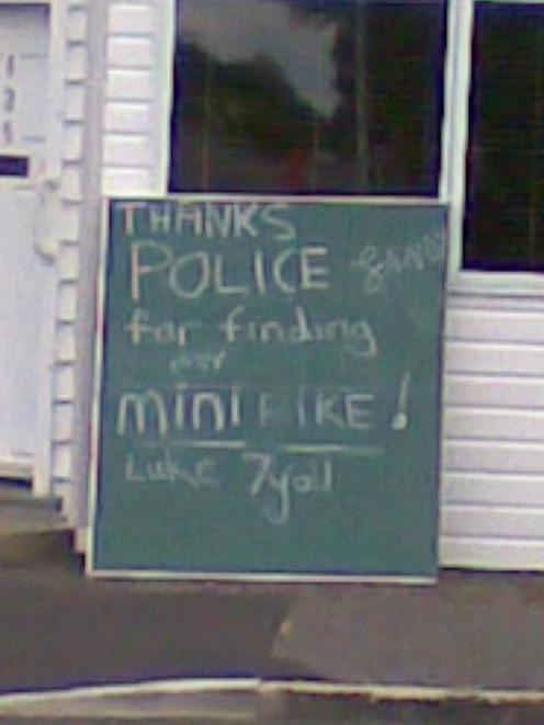 An Invercargill child expresses his thanks to police, after they returned the 7-year-old's bike...