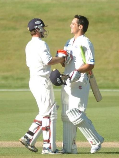 Anaru Kitchen (right) is congratulated by his Auckland team-mate, Reece Young, after Kitchen...