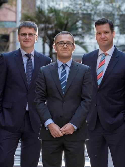 Anderson Lloyd's new Auckland partners (from left) David Holden, Chris Bargery and Geoff Busch....