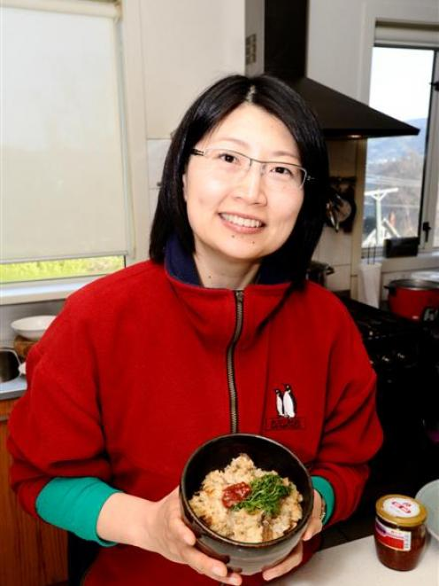 Andrea Mei-Wen Wang with a dish of yu-bin. Photo by Charmian Smith.