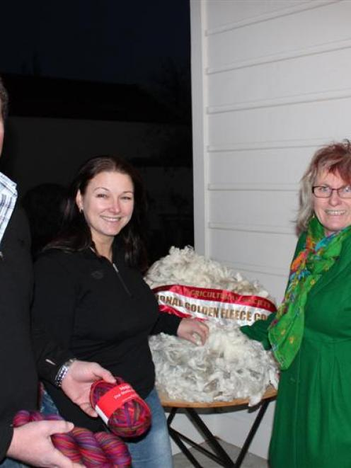 Andrew and Tracy Paterson, from Matakanui Station, with Marnie Kelly from Touch Yarns, and one of...
