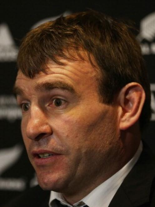 Andrew Hore of the All Blacks faces the media during a press conference after his ban.  (Photo by...